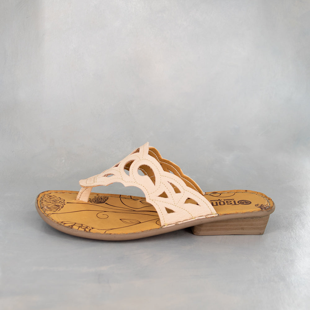 Gankla: Ladies Leather Sandal in Bellini Cayak