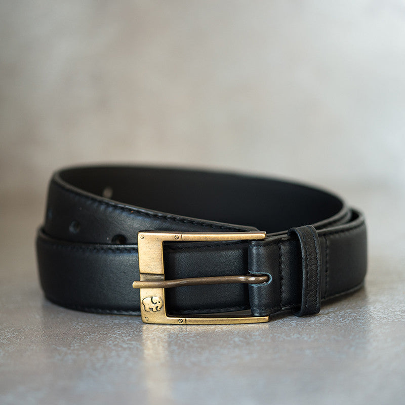 Ladies Leather Belt in Black Delta