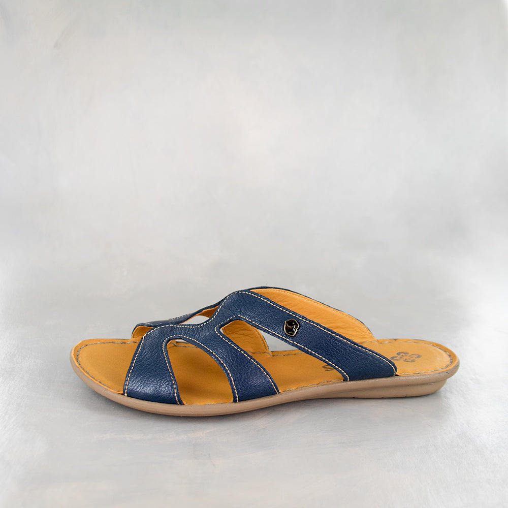 Nephula : Ladies Leather Tslops Sandal in Denim Cayak