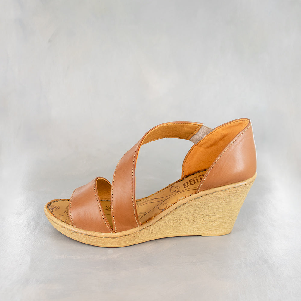 Nompempe : Ladies High-Heeled Leather Sandal in Hazel Relaxa