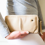 Olwethu : Ladies Leather Clutch Purse in Gravel Vintage