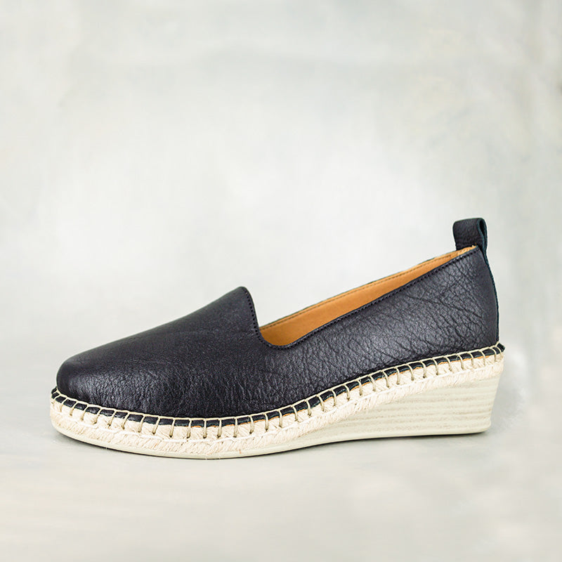Mfimfa : Ladies Leather Wedge Espadrille in Black Vintage