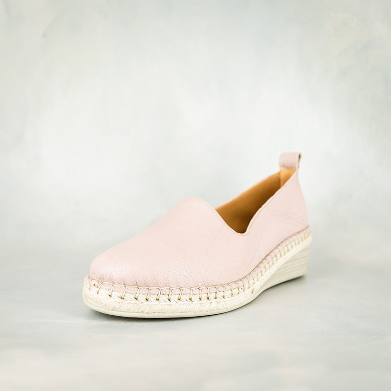 Mfimfa : Ladies Leather Wedge Espadrille in Rose Cayak