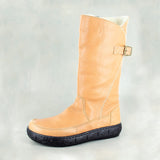 Maluju : Ladies 100% Wool-lined Leather Boot in Tan Vintage