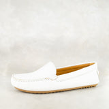 Kinatela : Ladies Leather Moccasin in White Cayak