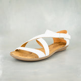 Ziphethe : Ladies Leather Sandal in White Cayak