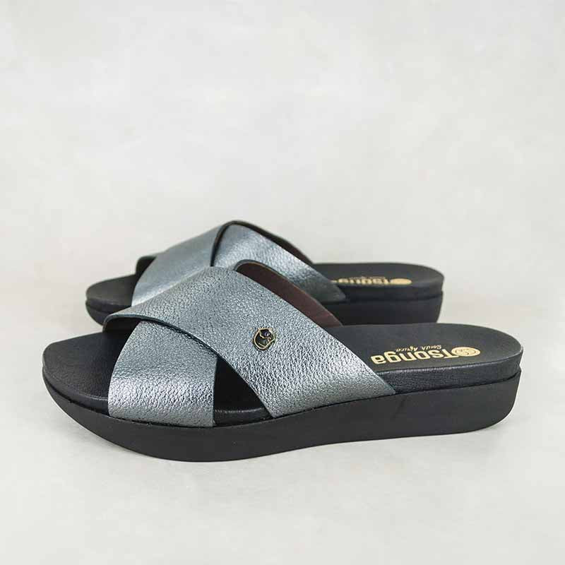 Ipulaki : Ladies Leather Sandal in Anthracite Metal Grain