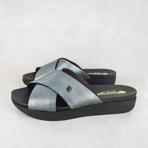 Isanya : Ladies Leather Tslops Wedge Heel Sandals in Black Cayak Sale