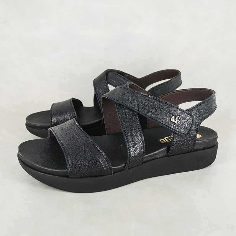 Itshali : Ladies Leather Sandals in Black Cayak Sale