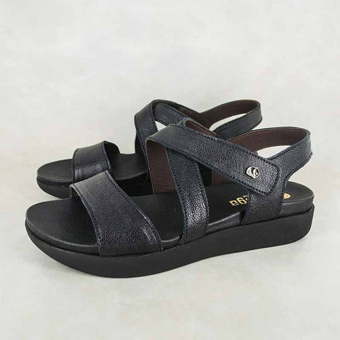 Jokola : Ladies Leather Tslops Sandal in Anthracite Metal Grain Sale