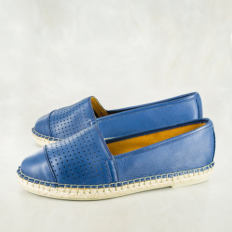 Indzima : Ladies Leather Espadrille Shoe in Tobacco Vintage