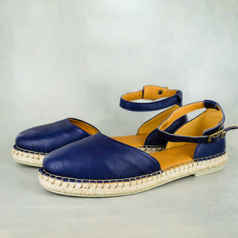 Consisela : Ladies Leather Espadrille Shoe in Denim Cayak & Spazio Grid