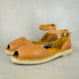 Ongaziwa : Ladies Leather Espadrille Shoe in Tobacco Vintage