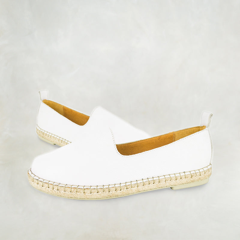 Indzima : Ladies Leather Espadrille Shoe in White Cayak