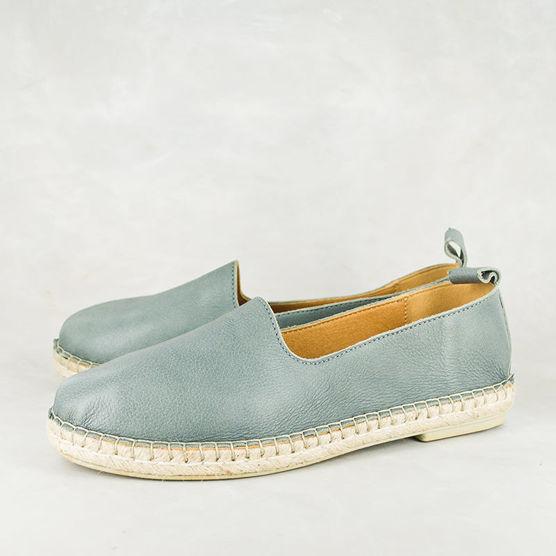 Indzima : Ladies Leather Espadrille Shoe in Highrise Vintage