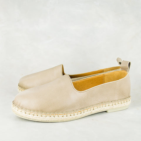 Yebo : Ladies Leather Espadrille Sneaker in Gravel Vintage