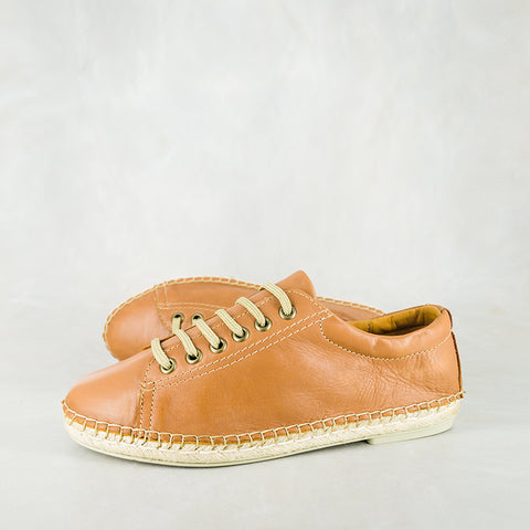 Ukubasa : Ladies Leather Slip-On Espadrille in Bark Domus
