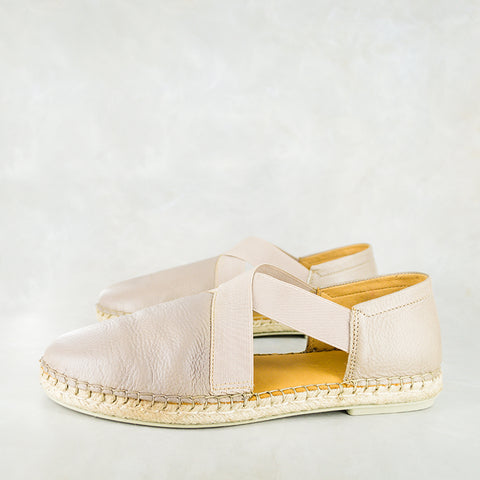 Badinga : Ladies Leather Espadrille Shoe in Gravel Vintage