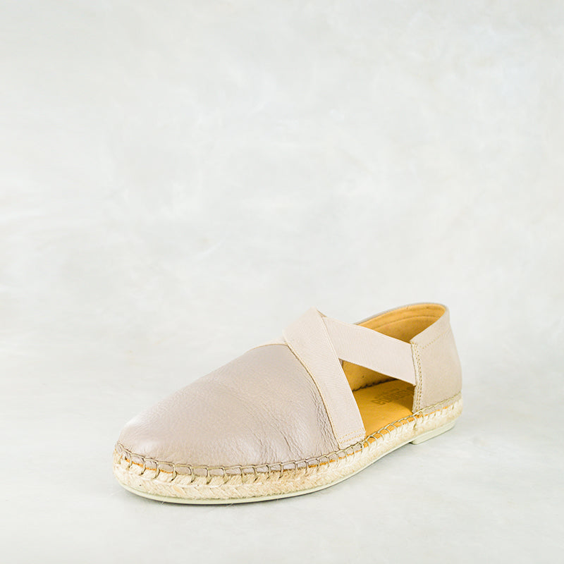 Jankomo : Ladies Leather Espadrille Shoe in Gravel Vintage