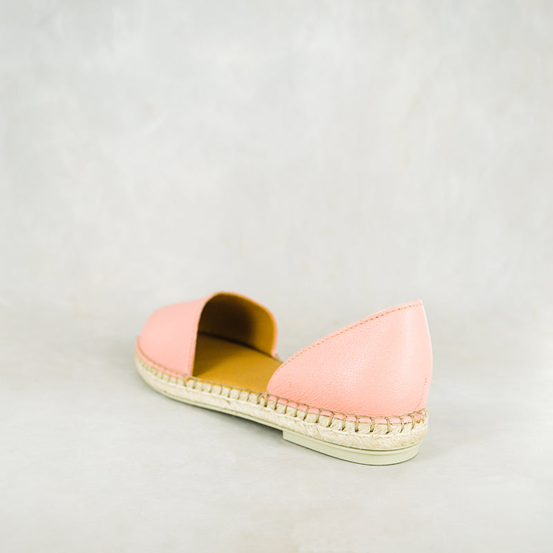 Valelisa : Ladies Leather Espadrille Shoe in Papaya Cayak
