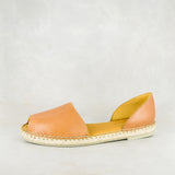 Valelisa : Ladies Leather Espadrille Shoe in Tan Vintage