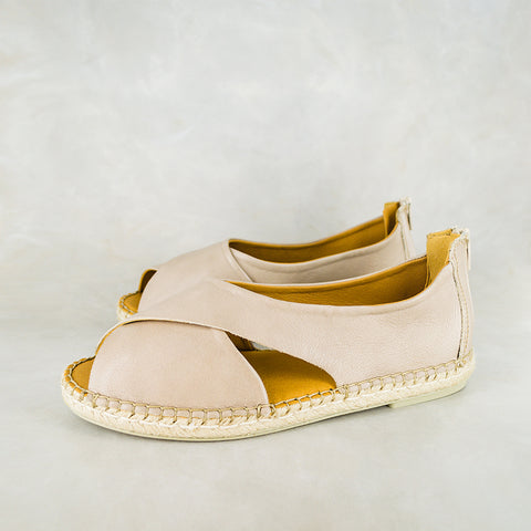 Consisela : Ladies Leather Espadrille Shoe in Gravel Vintage & Bark Domus