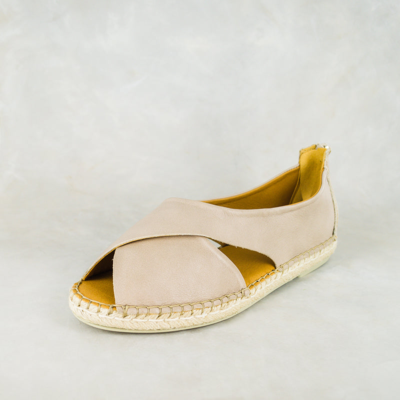 Chachisa : Ladies Leather Espadrille Shoe in Gravel Vintage Sale