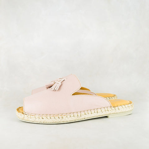 Ganandela : Ladies Leather Espadrille Sandal in Papaya Cayak