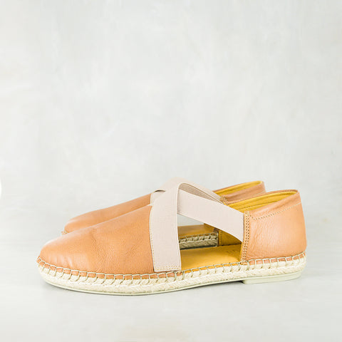 Consisela : Ladies Leather Espadrille Shoe in Highrise Vintage & Anthracite Metal Grain