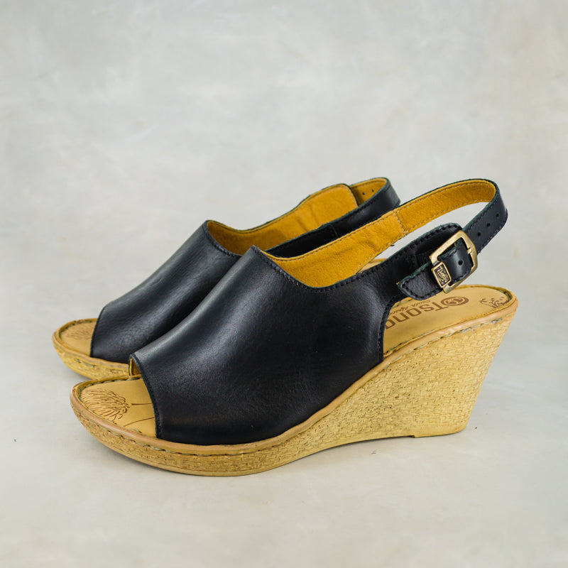 Bonaze : Ladies Leather Peep-Toe High-Heeled Wedge Sandal in Black Relaxa