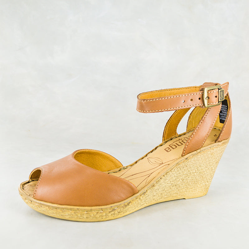 Wanyaza : Ladies Leather High-Heeled Wedge Sandals in Hazel Relaxa