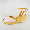 Wanyaza : Ladies Leather High-Heeled Wedge Sandals in Rose Cayak Sale