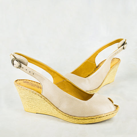 Wanyaza : Ladies Leather High-Heeled Wedge Sandals in Gravel Vintage