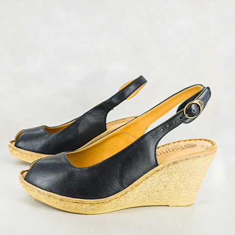 Injaywezi : Ladies Leather Wedge Espadrille in Black Vintage