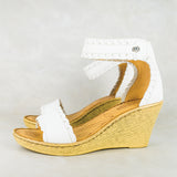 Mengezela : Ladies High-Heeled Leather Sandal in White Cayak