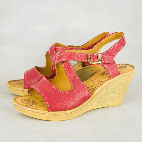 Wanyaza : Ladies Leather High-Heeled Wedge Sandals in Valentino Vintage