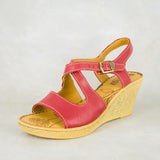 Kamnene : Ladies Leather High-Heeled Wedge Sandals in Valentino Cayak