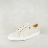 Shada : Ladies Leather Sneakers in Cream Cayak & Bark Domus