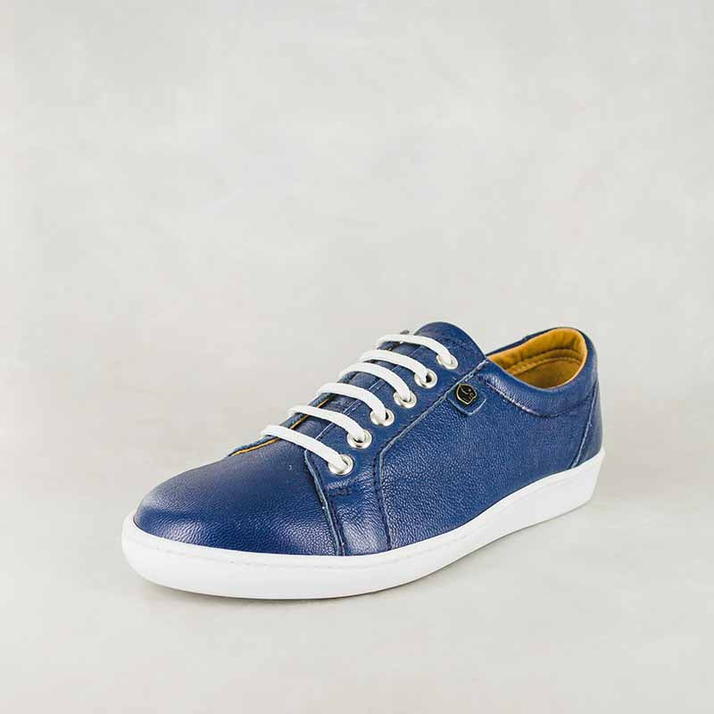 Shada : Ladies Leather Sneakers in Denim Cayak