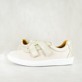 Gigizela : Ladies Leather Sneaker in Cream Cayak & Bark Domus