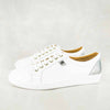 Shada : Ladies Leather Sneakers in White Cayak & Tallio Grid