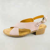 Shelufu : Ladies Leather Sandal in Rose Cayak