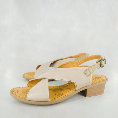 Iyeka : Ladies Leather Mid-Heel Sandal in Black Relaxa with Beige Detail Sale