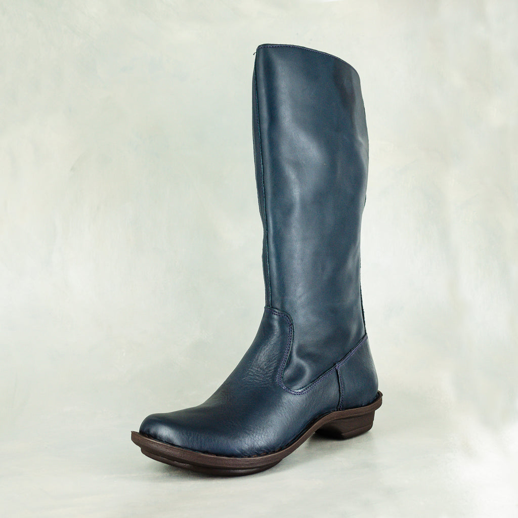 Vutha : Ladies Leather Mid-Calf Boot in Navy Relaxa