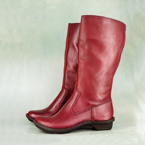 Besimi : Ladies Leather Boots in Highrise Vintage & Tallio Metal Grain