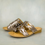 Isivinia : Ladies Leather Sandal in Pewter Nappa Prime