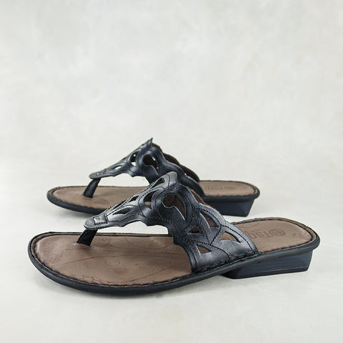 Cengezi : Ladies Leather Sandal in Anthracite Metal Grain Sale