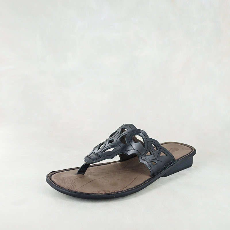 Gankla : Ladies Leather Sandal in Black Impala