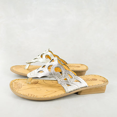 Baqaza : Ladies Leather Tslops Sandal in Bark Domus