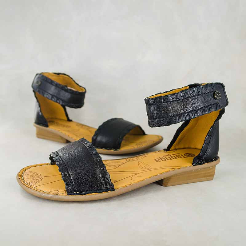 Thushana : Ladies Leather Sandal in Black Cayak